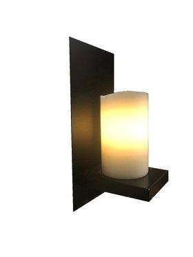 Kaarsenlamp wandlamp staal
